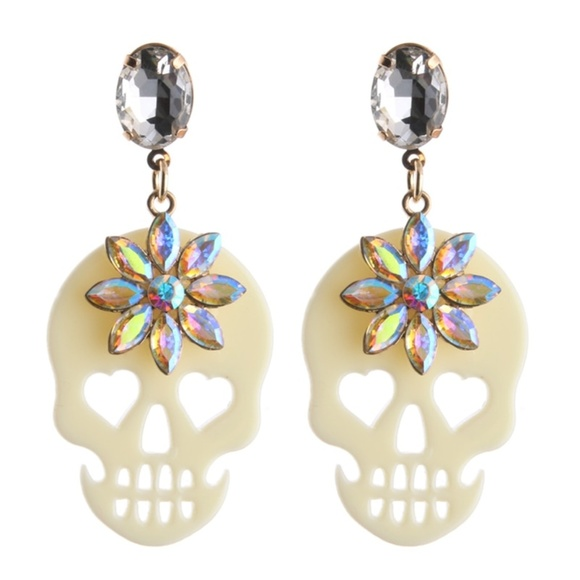 Jewelry - Skull Drop Earrings Acrylic White & Crystals